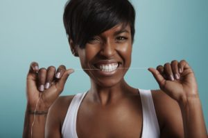 woman taking care of oral health