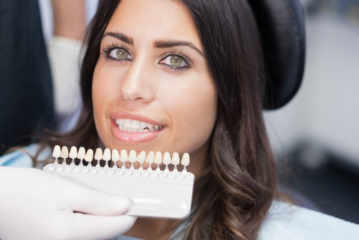 A dentist comparing temporary veneers to a patient's smile.
